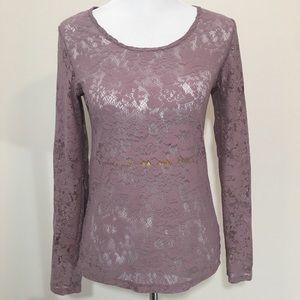 American Rag Sheer Mauve Purple Lace Long Sleeve